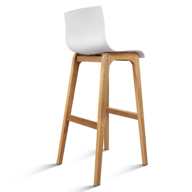 2x Plastic Bar Stools With Oak Wood Legs In White Buy