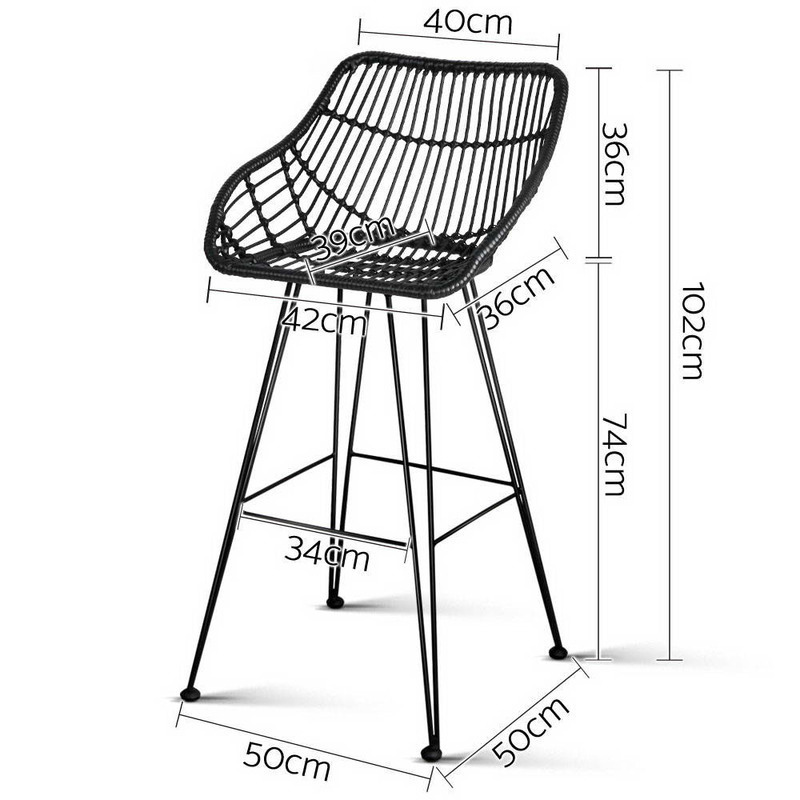 2pc Metal amp Rattan Bar Stools in Black 50x50x102cm Buy  : BA H 3922 BKX201 from www.mydeal.com.au size 800 x 800 jpeg 95kB