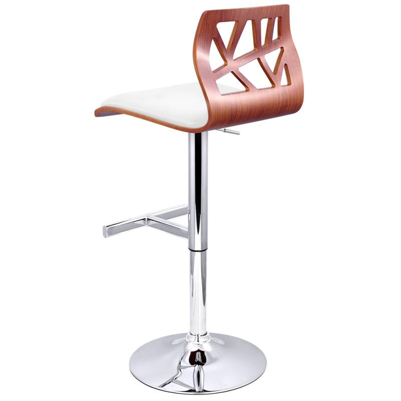 2x cut out wood chrome pu leather bar stool white buy for Motorized bar stool for sale