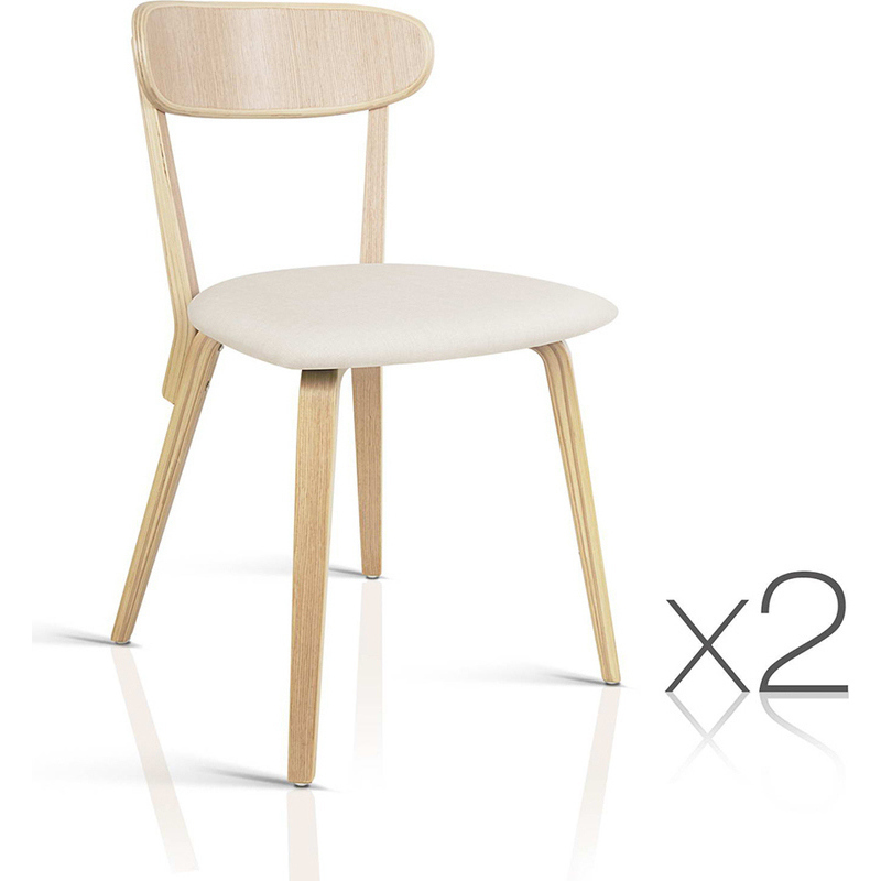 2x Plywood Curved Back Modern Dining Chairs Beige Buy