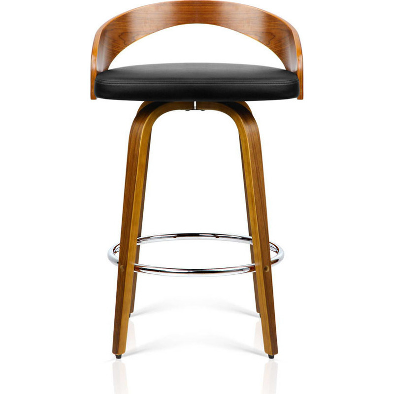 2x Faux Leather Wood Rail Bar Stool Walnut Buy Sets Of 2