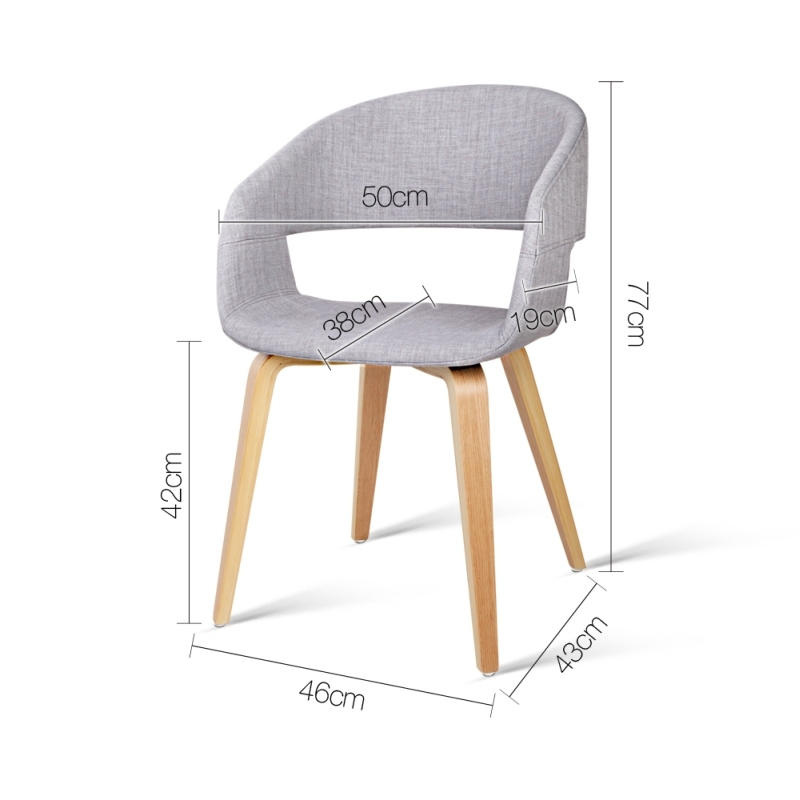 2x Plywood Curved Hugging Dining Chair Light Grey Buy Fabric Dining Chairs
