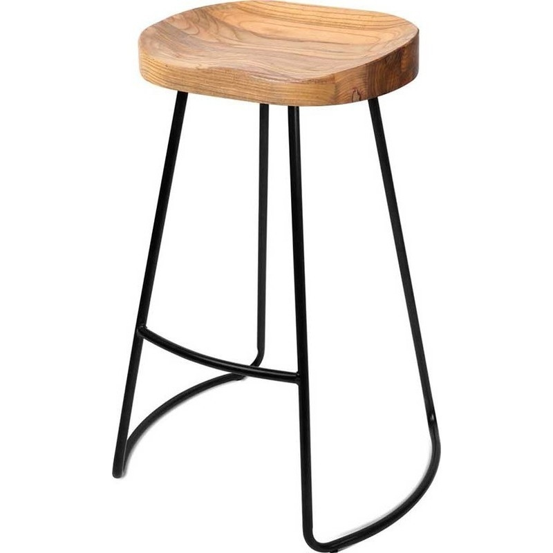 2x Retro Elm Wood Bar Stool W Black Steel Legs 75cm Buy