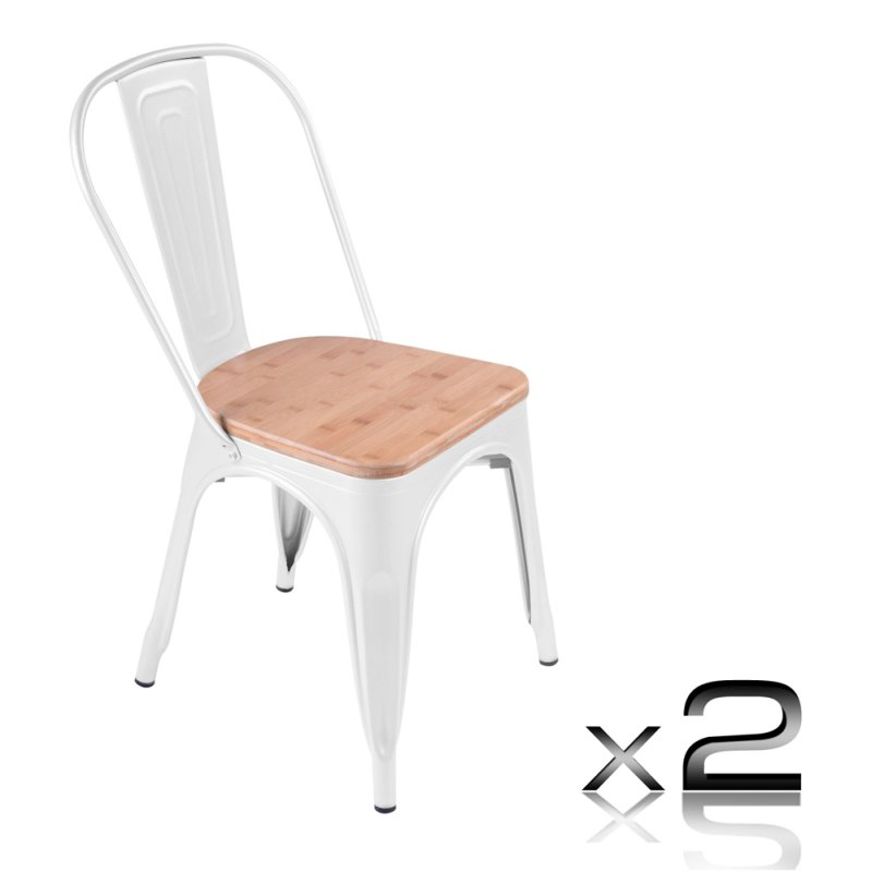 2 Replica Tolix White Steel Wood Seat Dining Chairs Buy Tolix