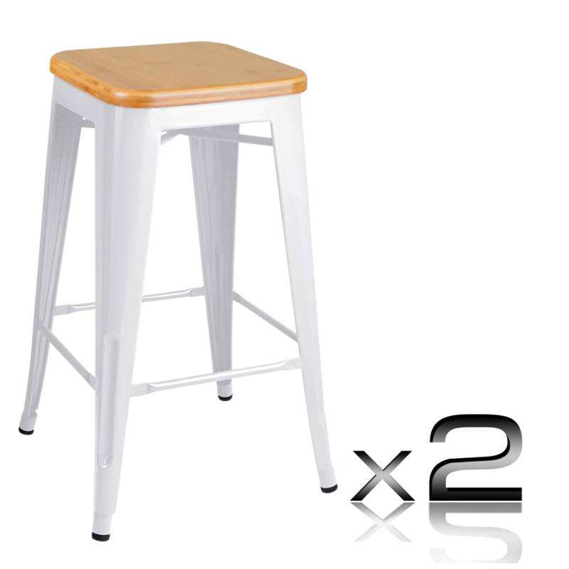 2x Replica Tolix Steel u0026 Wood Bar Stool White 66cm  sc 1 st  MyDeal & 2x Replica Tolix Steel u0026 Wood Bar Stool White 66cm | Buy Sets of 2 islam-shia.org