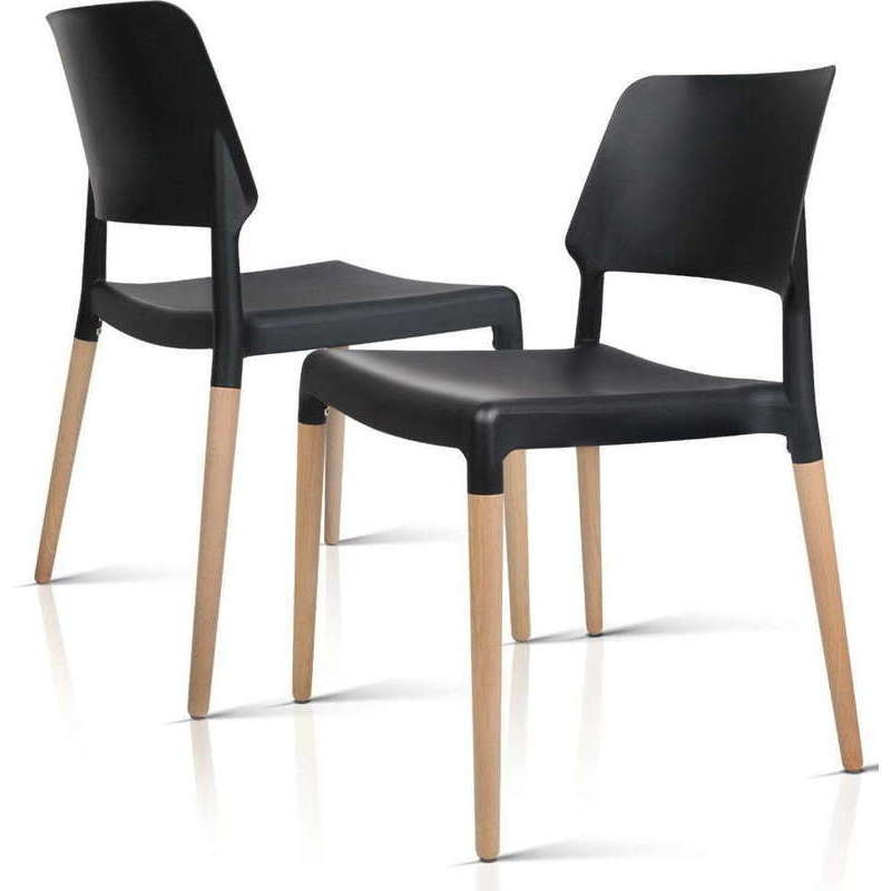 artiss set of 4 wooden stackable dining chairs black buy sets of 4 192671. Black Bedroom Furniture Sets. Home Design Ideas