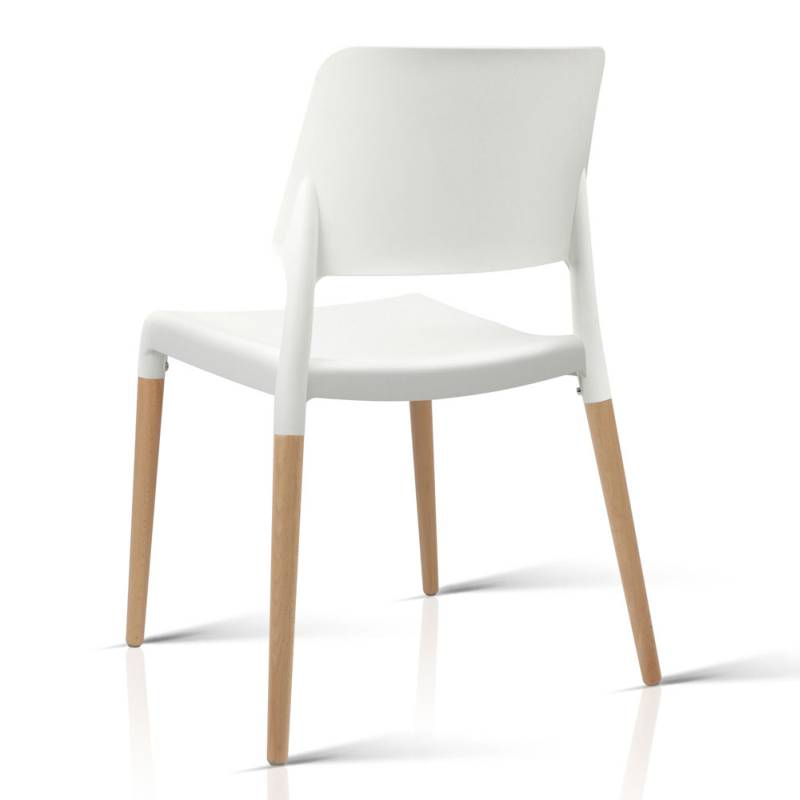White Dining Chairs: Artiss Set Of 4 Wooden Stackable Dining Chairs