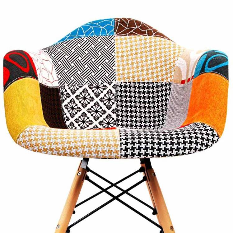 2x Eames DAW Replica Patchwork Fabric Armchairs | Buy Arm ...