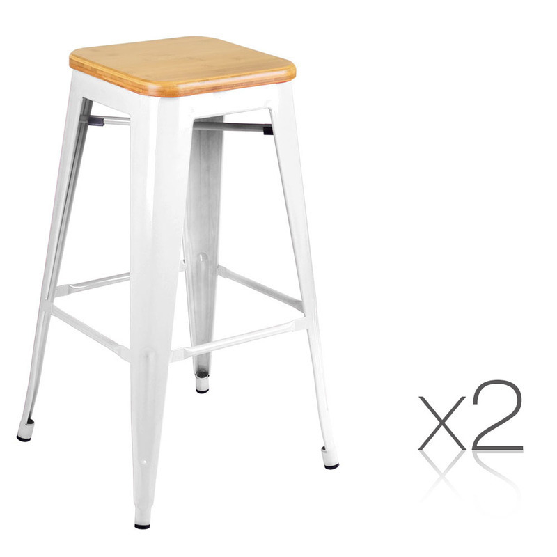 2pc tolix replica metal steel bamboo seat bar stool in white buy