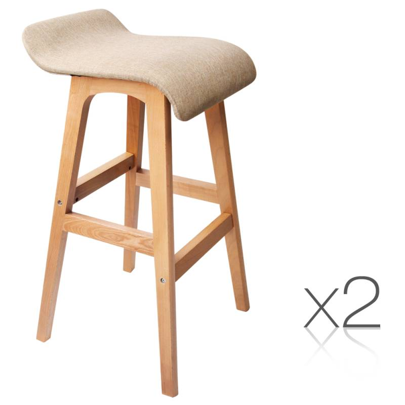 2x S Curve Fabric Beech Wood Bar Stool Tan 74cm Buy Sets