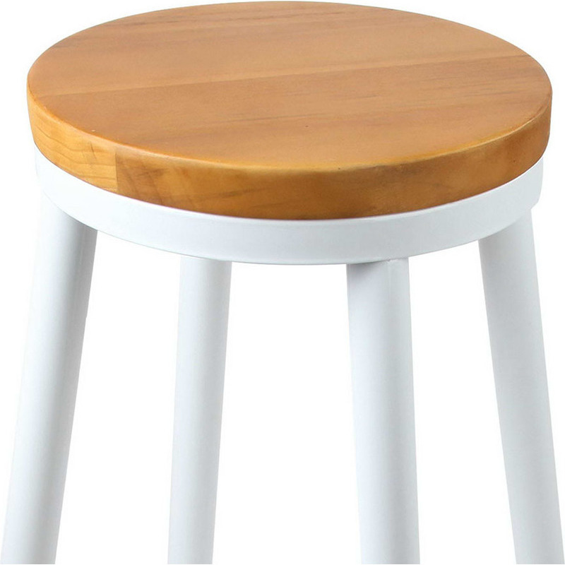2x Wooden Stackable Round Seat Bar Stools In White Buy
