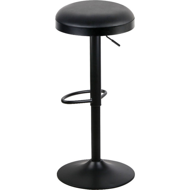 2x Round Gas Lift Pu Leather Bar Stools In Black Buy Gas