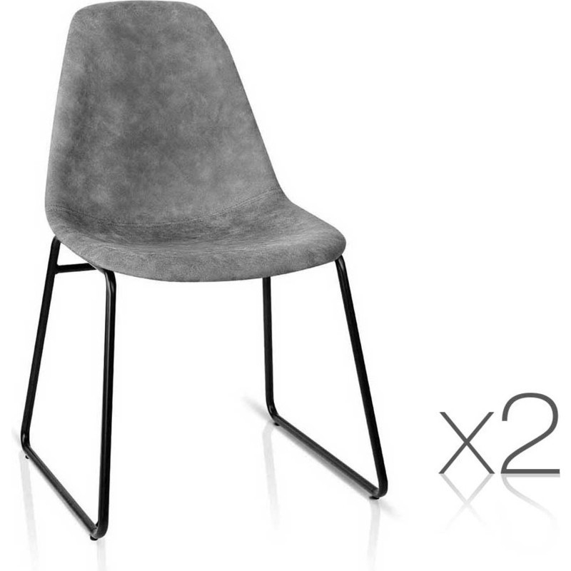2x Herald Steel PU Leather Dining Chairs In Grey Buy Leather Dining C