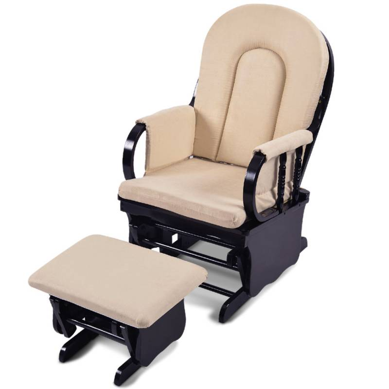 cuddly baby breast feeding sliding glider chair with ottoman beige buy nursery furniture 12196. Black Bedroom Furniture Sets. Home Design Ideas