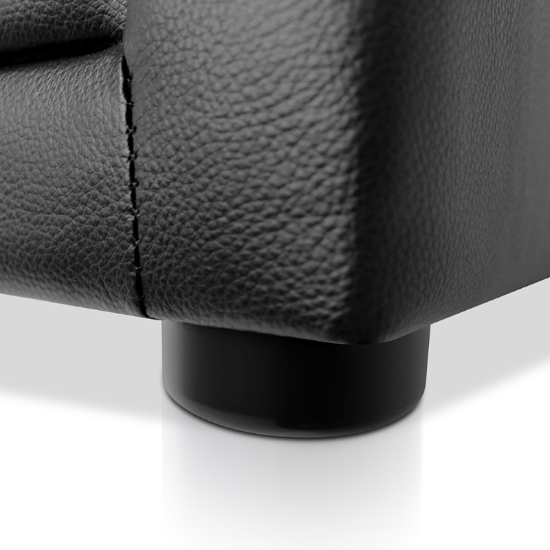 Deluxe Pu Leather 2 Drawer Bedside Table In Black Buy