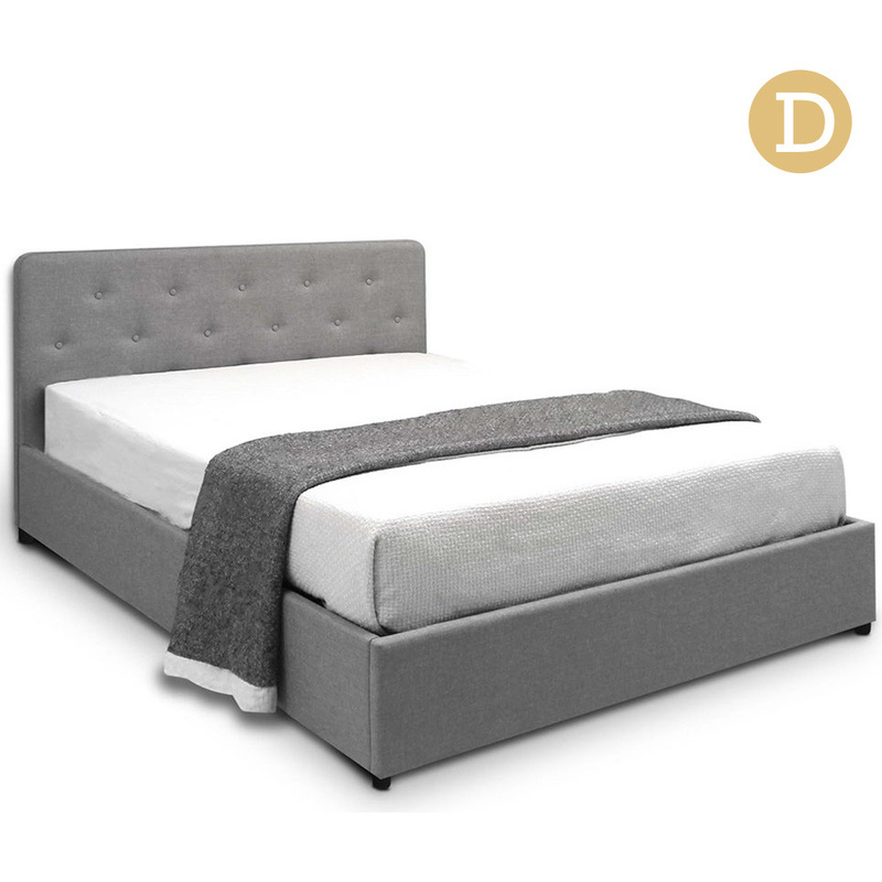 Double Gas Lift Fabric Storage Bed Frame In Grey Buy