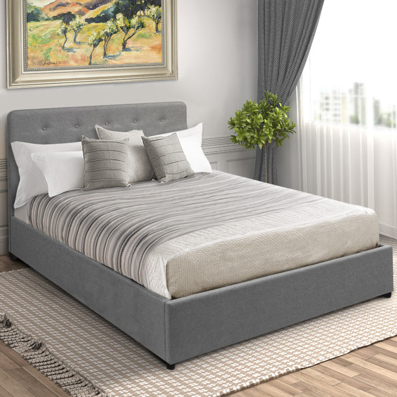 283 Best Images About Fabric Bed Headboards On Pinterest: Double Gas Lift Fabric Storage Bed Frame In Grey