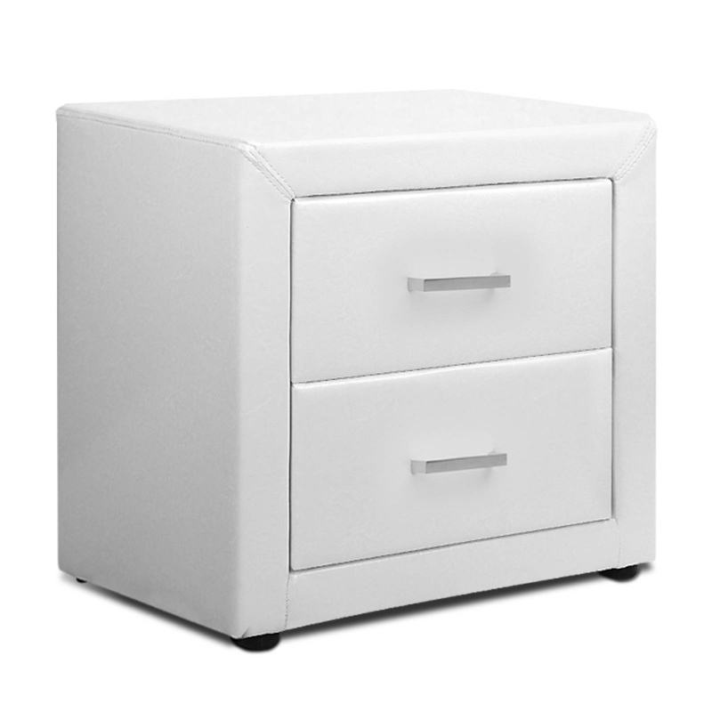 Pu leather bedside table with 2 drawers in white buy white bedside pu leather bedside table with 2 drawers in white watchthetrailerfo