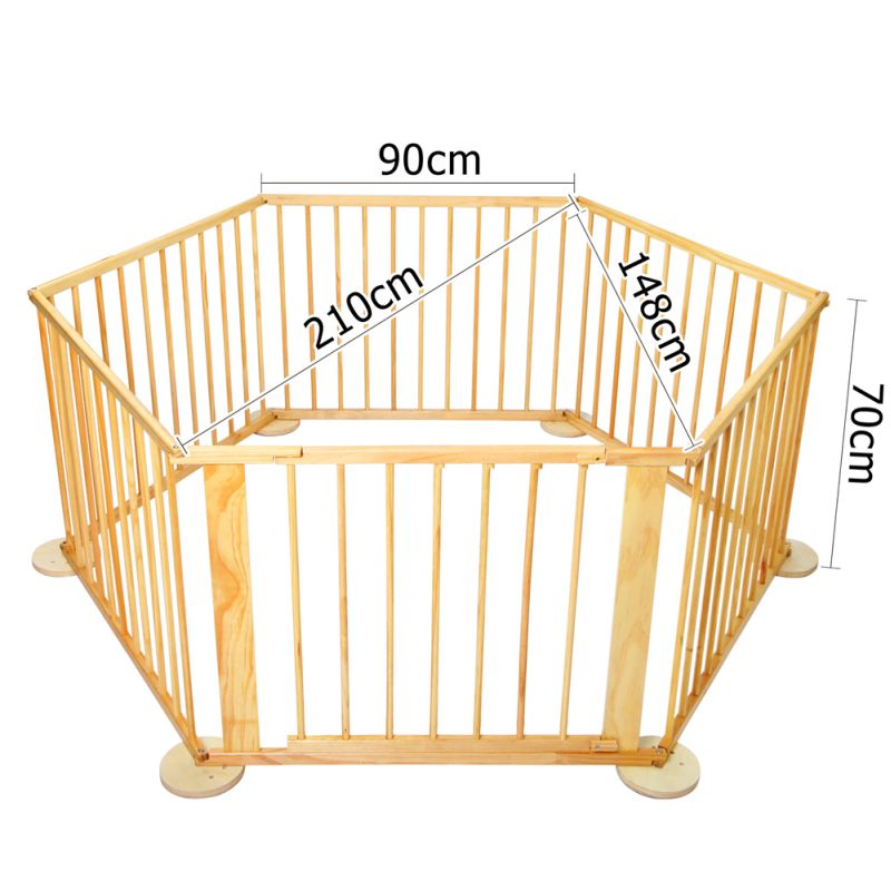 6 Side Adjustable Kid S Baby Playpen Natural Wood Buy
