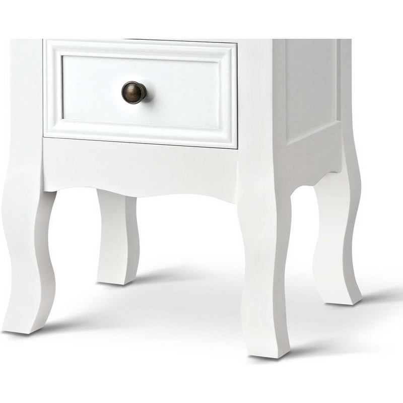 Vintage style mdf 2 drawer bedside table in white buy for Buy white bedside table