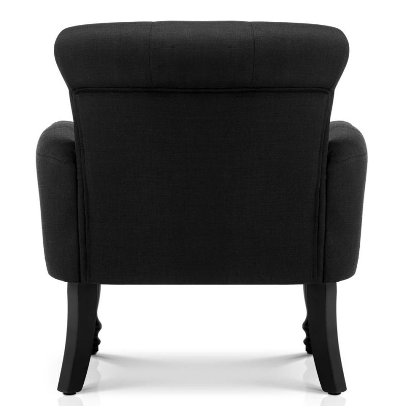 French Provincial Linen Fabric Wing Armchair Black Buy Lounge Chairs