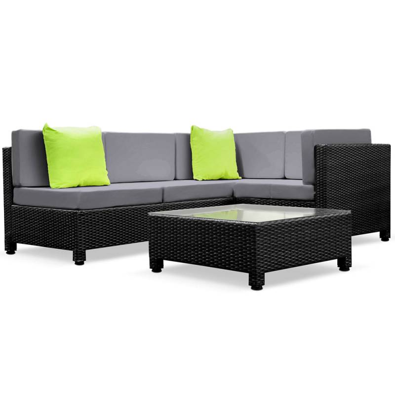 gardeon 5 piece pe wicker outdoor sofa black grey buy 4 seat lounge sets 102746. Black Bedroom Furniture Sets. Home Design Ideas