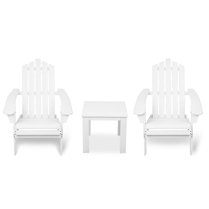 3pc Adirondack Chairs and Side Table Set in Whitewashed