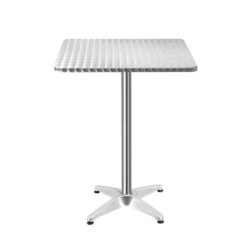 Gardeon Aluminium Adjustable Square Bar Table   Silver