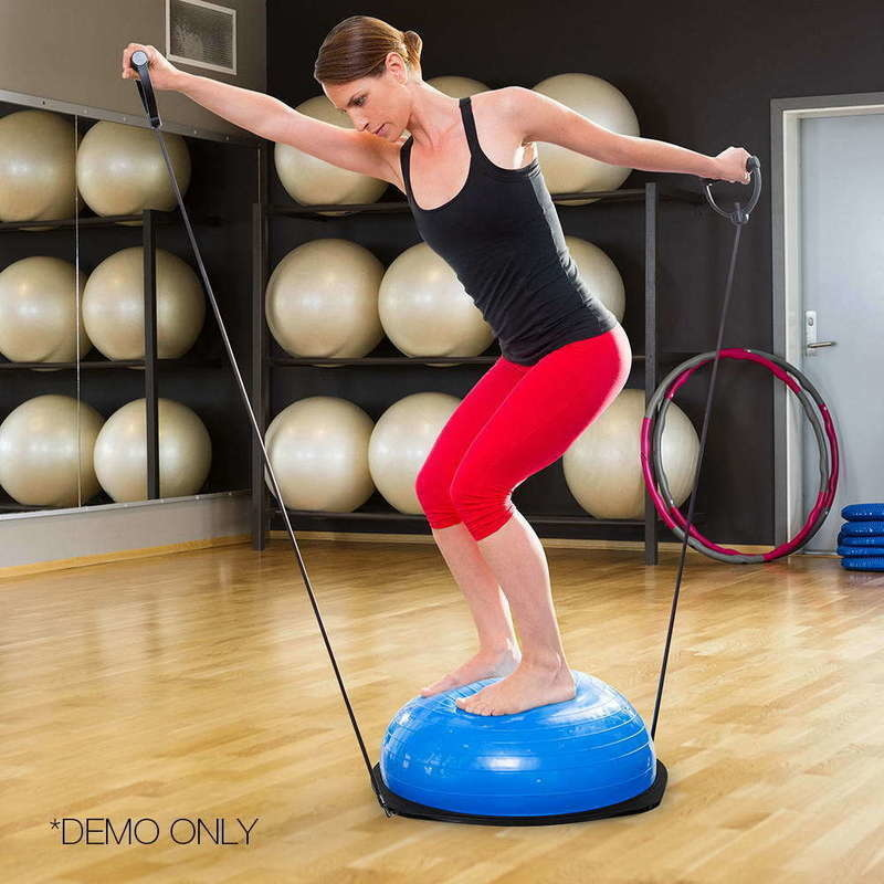 Balance Ball Kick: Everfit Trainer Ball With Resistance Bands - Blue