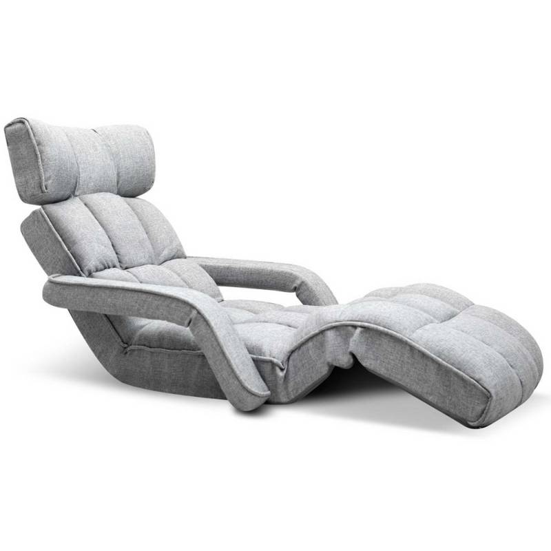 Single size adjustable lounge chair w arms in grey buy for Grey single chair