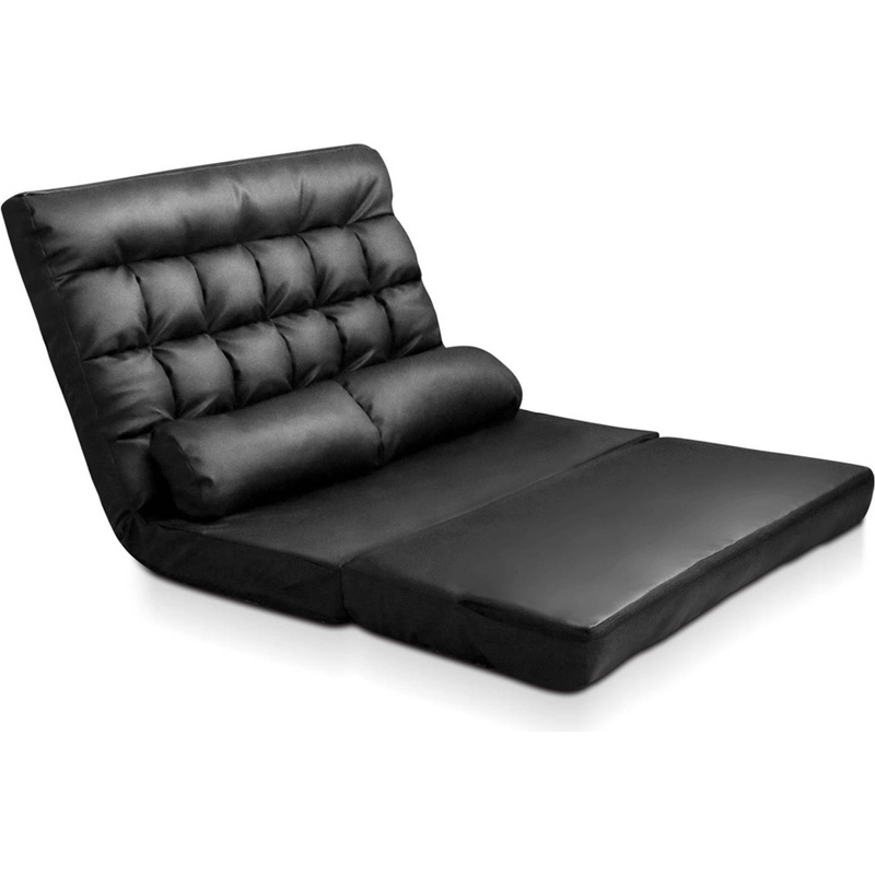 Adjustable Pu Leather Floor Lounge Sofa In Black Buy