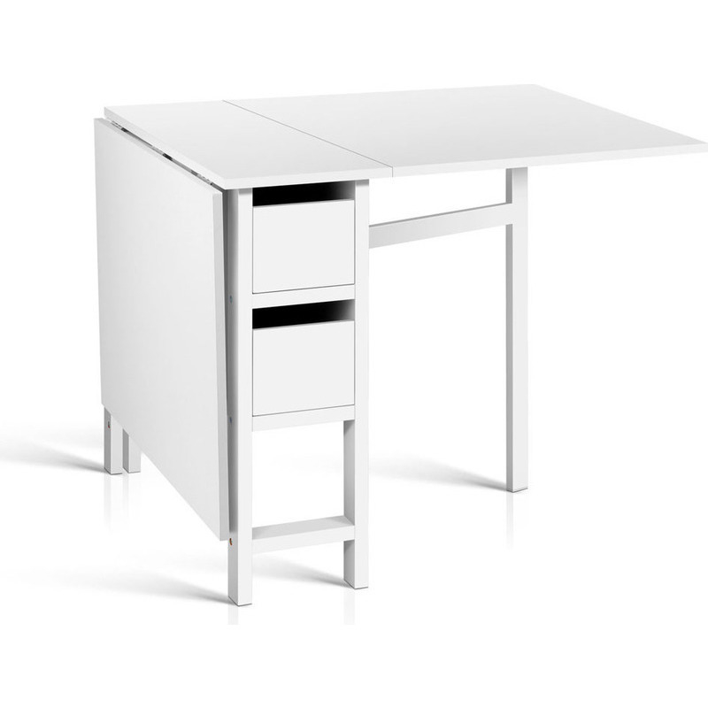 Gateleg MDF Wood Adjustable Dining Table In White Buy Desks