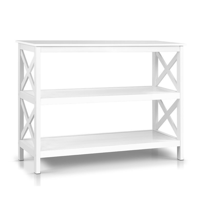 Wooden Storage Console Table White