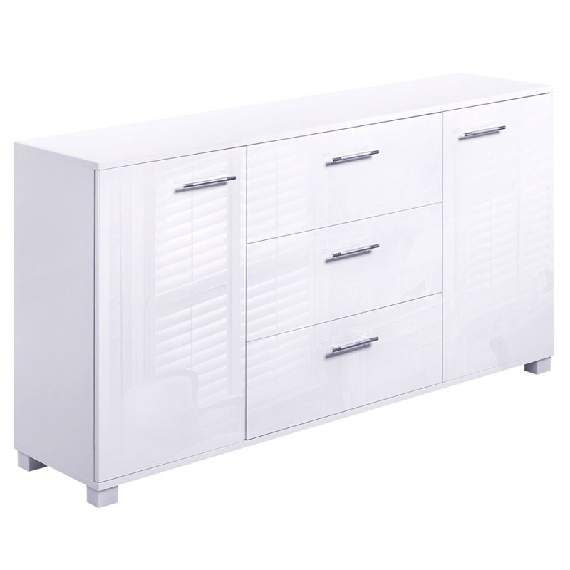 high gloss sideboard buffet w 3 drawers in white buy. Black Bedroom Furniture Sets. Home Design Ideas