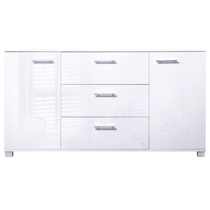 High Gloss Sideboard Buffet w/ 3 Drawers in White | Buy ...