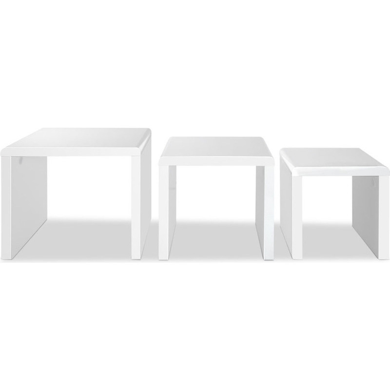 Nest Of 3 High Gloss White Curved Coffee Table Side Tables: Artiss Set Of 3 Nesting Tables