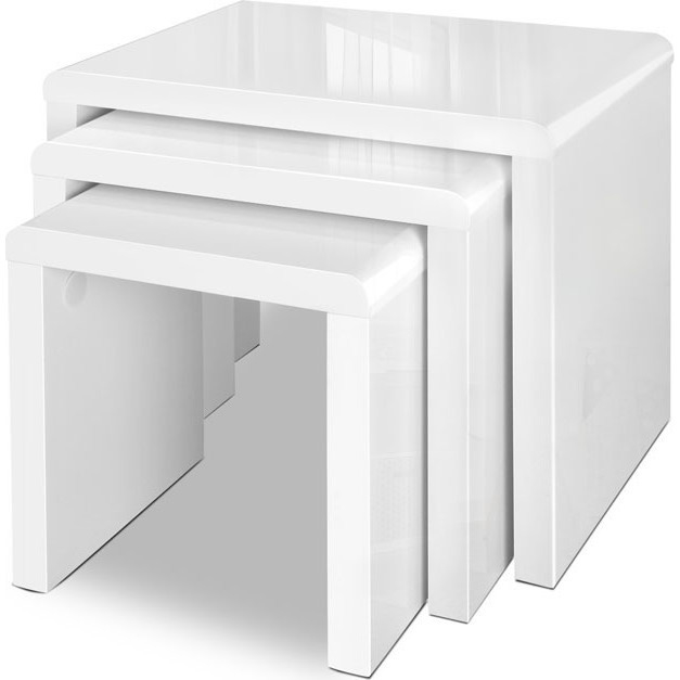 Nest Of 3 High Gloss White Curved Coffee Table Side Tables: 3pc Contemporary Nesting Tables In High Gloss White