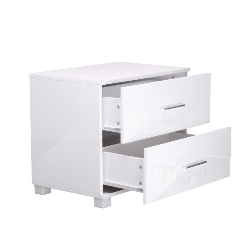 High gloss mdf bedside table unit w drawers white buy for Buy white bedside table