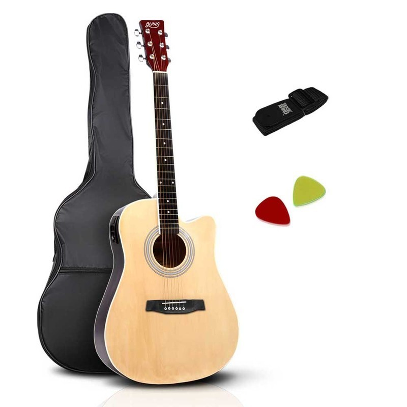 alpha 41 inch 5 band eq electric acoustic guitar full size natural buy acoustic electric. Black Bedroom Furniture Sets. Home Design Ideas