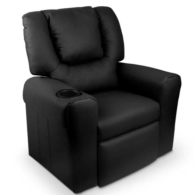 Kids pu leather recliner chairs w cup holder buy kids sofas for Toddler leather chair