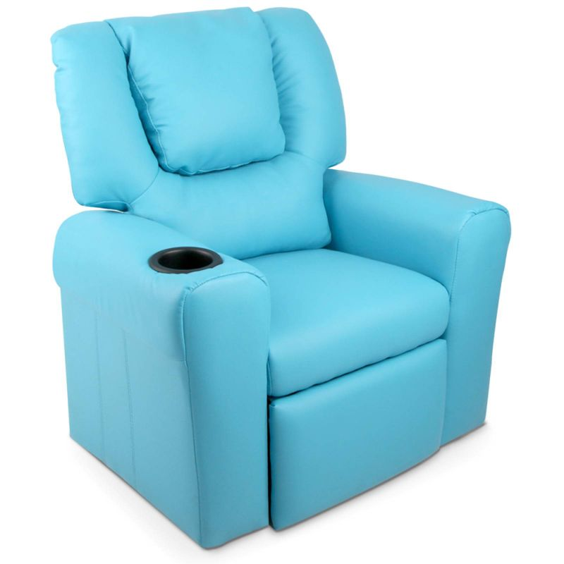 Charmant Kids PU Leather Recliner Chair W Cup Holder Blue