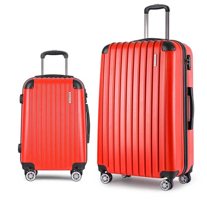 2 Size Hard Suitcase Travel Luggage Set In Red Buy 2