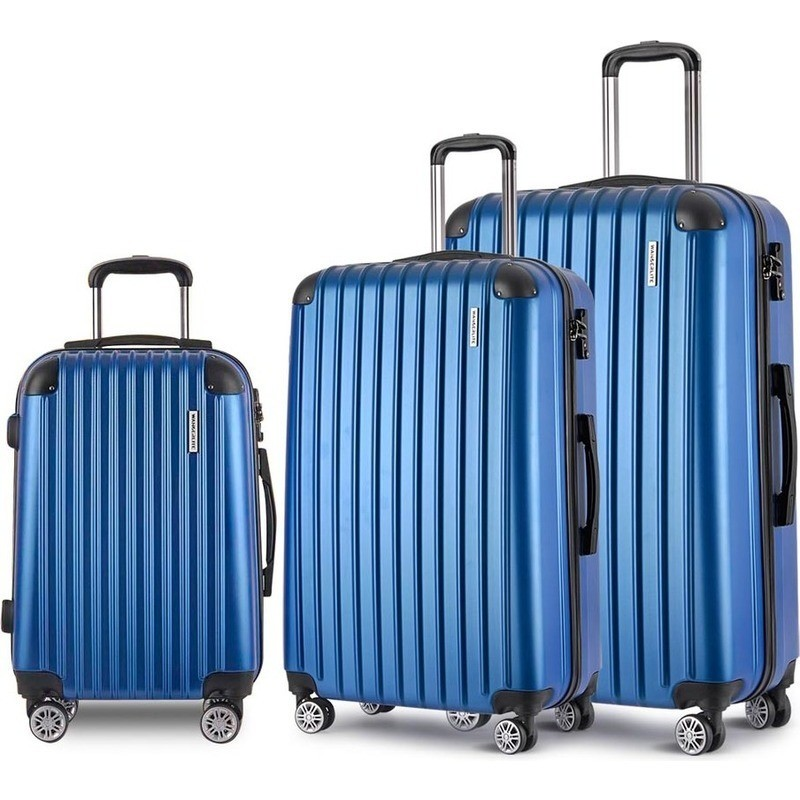 3pc Hard Shell Travel Luggage With Tsa Lock In Blue Buy