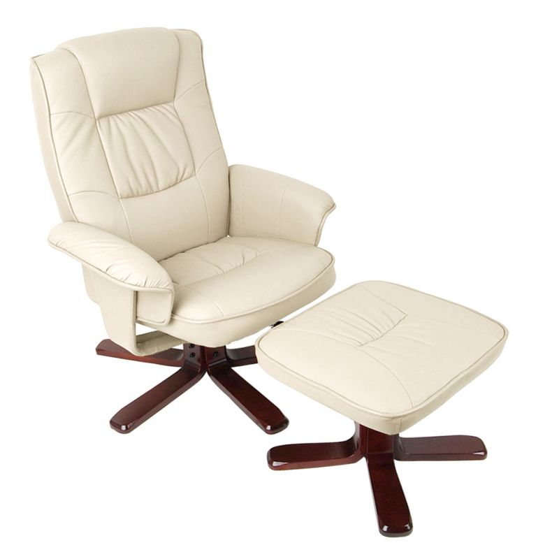 Pu leather swivel recliner lounge chair and ottoman buy for Swivel club chair leather