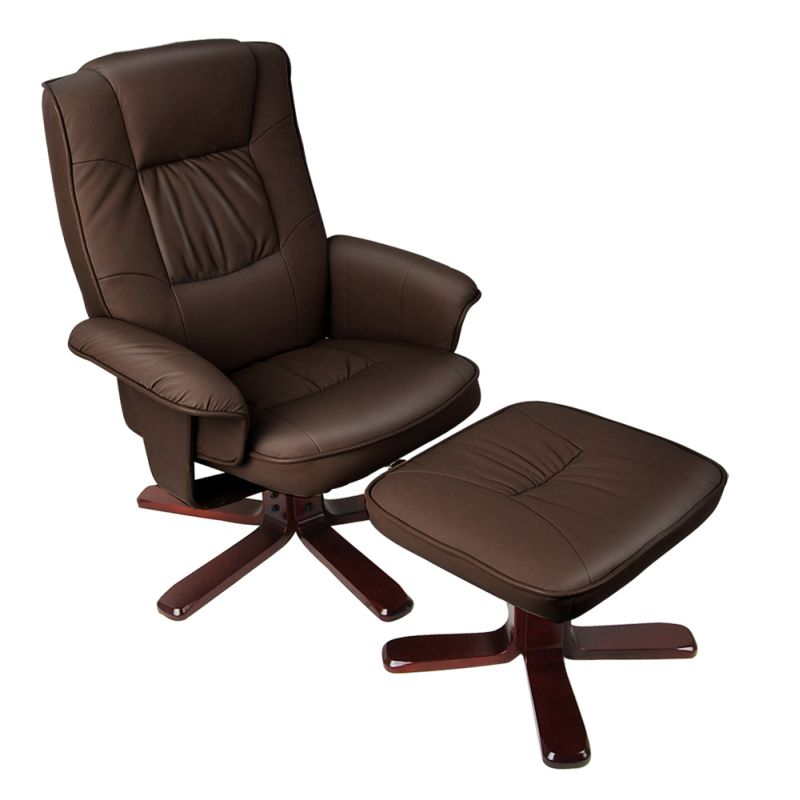 brown swivel pu leather recliner armchair w ottoman buy