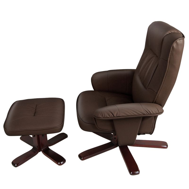 brown swivel pu leather recliner armchair w ottoman buy sale