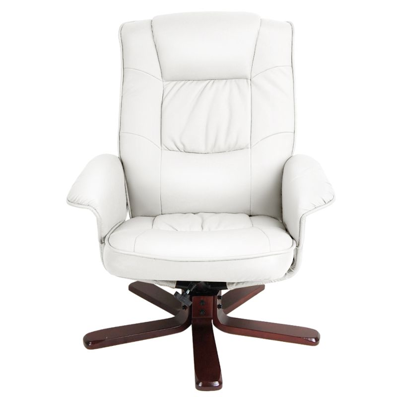 white leather recliner chair with footstool recliner chair with ottoman pu leather lounge white buy 22007 | OCHAIR 90052 WH 03