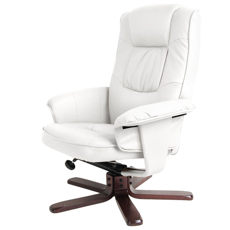 white leather recliner chair with footstool recliner chair with ottoman pu leather lounge white buy 22007 | OCHAIR 90052 WH 05