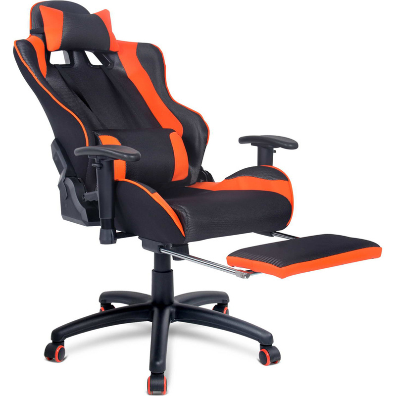 Pu Leather Amp Mesh Office Chair W Footrest In Orange Buy