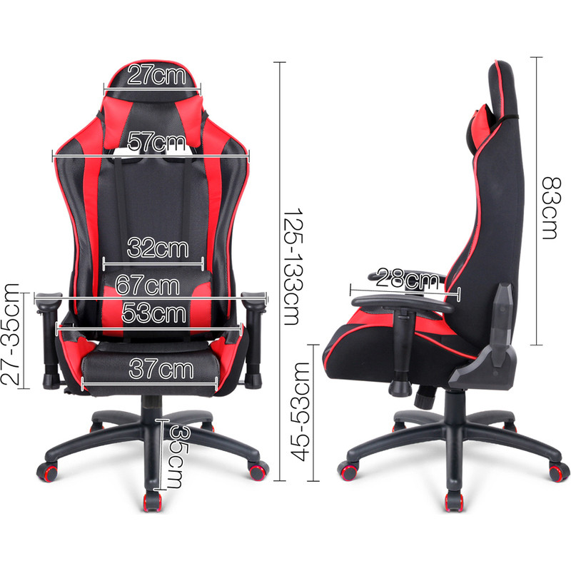 Sporty Swivel Mesh Gaming Office Chair In Red Buy Gaming